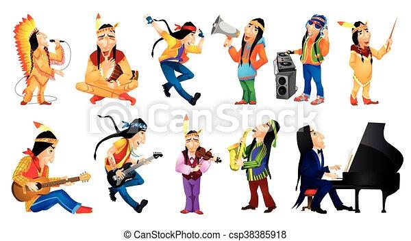 Vector set de ilustraciones musicales americanas - csp38385918