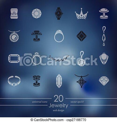 Un conjunto de iconos de joyas - csp27188770