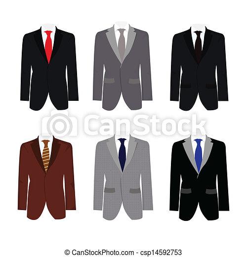 Seis ilustraciones de hermoso traje de negocios - csp14592753