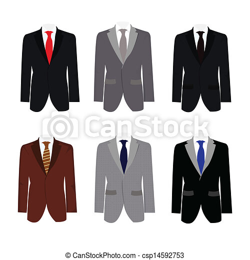 Un conjunto de 6 ilustraciones guapo traje de negocios - csp14592753