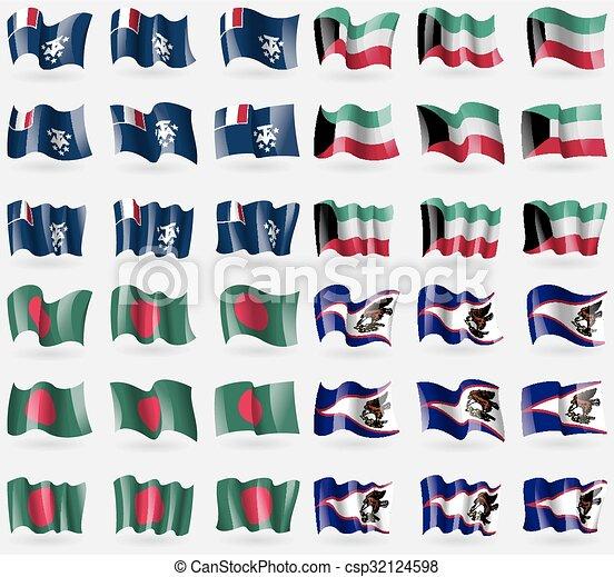 Francés y Antártico, kuwait, bangladesh, samoa americana. Un conjunto de 36 banderas de los países del mundo. Vector - csp32124598