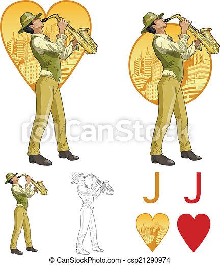 Jack de corazones mezclados de raza músico de la mafia juego de cartas - csp21290974