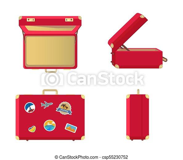 dac1ad92a Conjunto, maletas, cuero, vendimia, cerrado, abierto. Vector ...