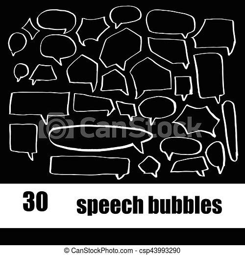 Vector puso la mano dibujando burbujas de habla - csp43993290
