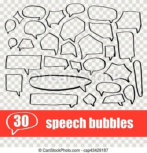 Vector puso la mano dibujando burbujas de habla - csp43429187