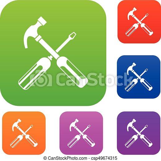 Coleccion de martillo y destornillador - csp49674315