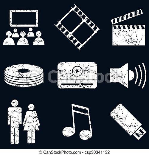 Juego de iconos de los medios, grunge blanca - csp30341132