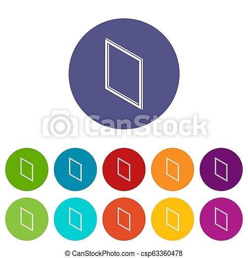 Los iconos del marco de la ventana metálica ponen color - csp63360478