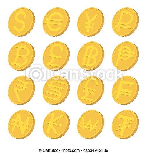 Iconos de moneda, estilo de dibujos animados - csp34942339