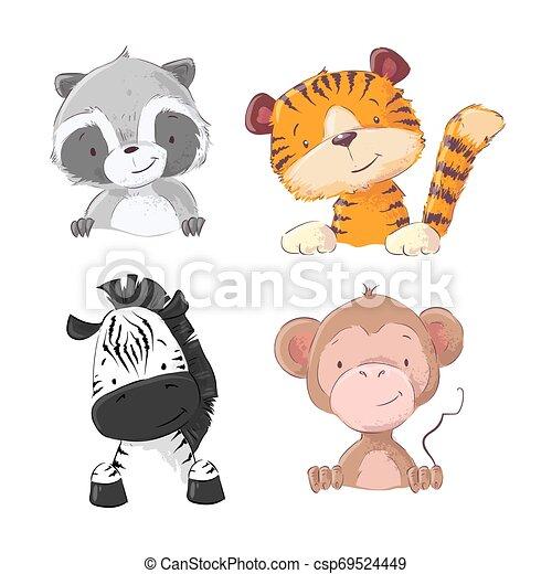 Un conjunto de monos de cebra tigre mapache cachorro. Estilo de dibujos animados. Vector - csp69524449