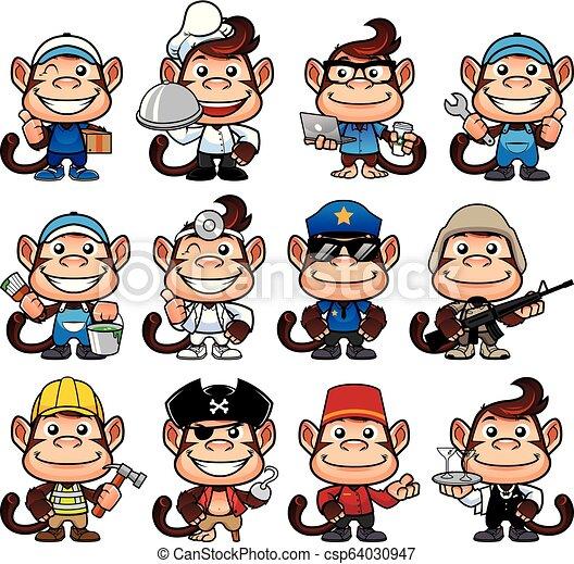 Ocupaciones Del Mono Mono De Dibujos Animados En 12 Poses