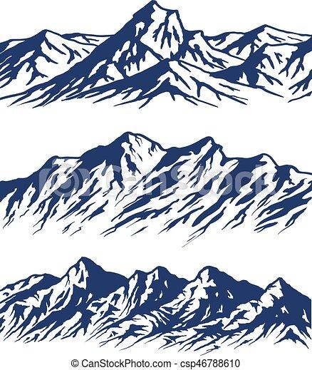 Un conjunto de siluetas de montañas - csp46788610