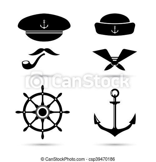 Vector iconos náuticos, capitán y marinero, set de mar - csp39470186