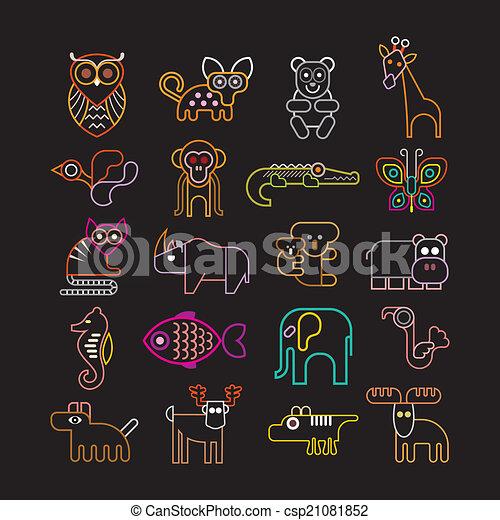Un conjunto de iconos de animales de neón - csp21081852