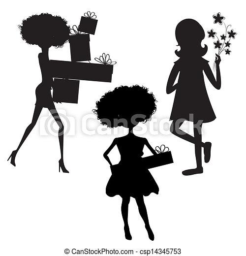 Un conjunto de tres chicas siluetas en la fiesta de cumpleaños aisladas en fondo blanco - csp14345753