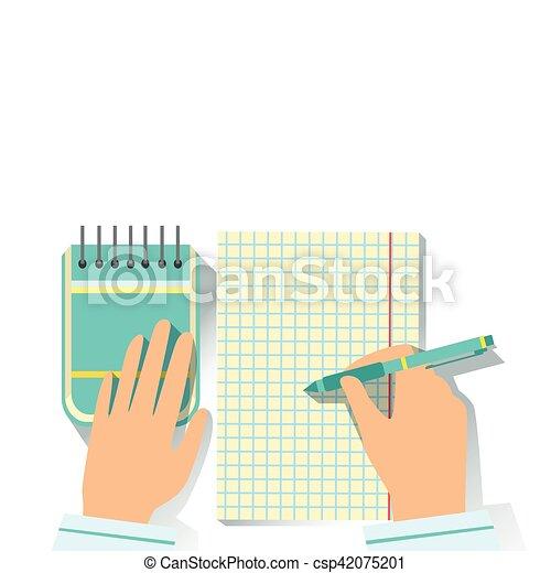 Notebook y bloc de notas el elemento de escritorio de los trabajadores parte de herramientas de trabajo y conjunto estacionarios de objetos - csp42075201