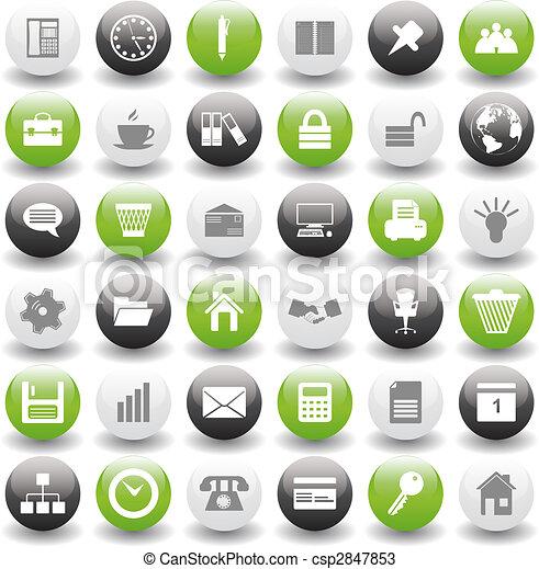 Los iconos de negocios y oficinas están listos - csp2847853