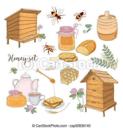 Conjunto, panal, miel, estilo, producción, -, fondo., retro ...