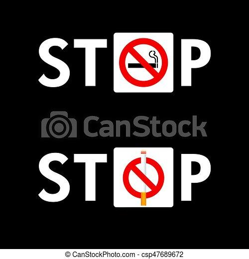 Deja de fumar señal establece ilustración en el fondo negro - csp47689672
