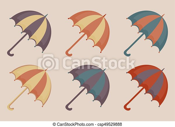 Un par de iconos, estilo antiguo. Una colección multicolor de paraguas retro de elementos de diseño. Ilustración de vectores. - csp49529888