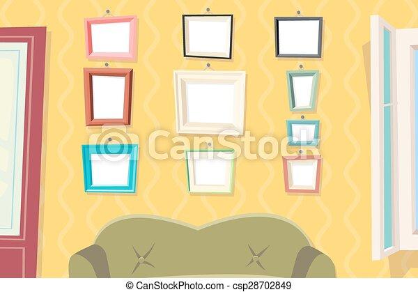 Conjunto, pared, marco de la foto, diseño, vida, apartamento ...