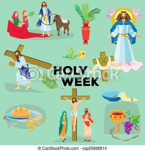 Preparada para la cristiandad semana santa antes de Pascua, prestada y palma o pasión el domingo, buena crucifixión de los viernes de Jesús y su muerte, estaciones de cruz, Dios la última cena corona de espinas ilustración vectorial - csp55698814