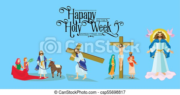 Preparada para la cristiandad semana santa antes de Pascua, prestada y palma o pasión el domingo, buena crucifixión de los viernes de Jesús y su muerte, estaciones de cruz, Dios la última cena corona de espinas ilustración vectorial - csp55698817