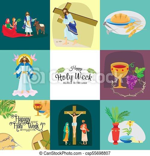 Preparada para la cristiandad semana santa antes de Pascua, prestada y palma o pasión el domingo, buena crucifixión de los viernes de Jesús y su muerte, estaciones de cruz, Dios la última cena corona de espinas ilustración vectorial - csp55698807