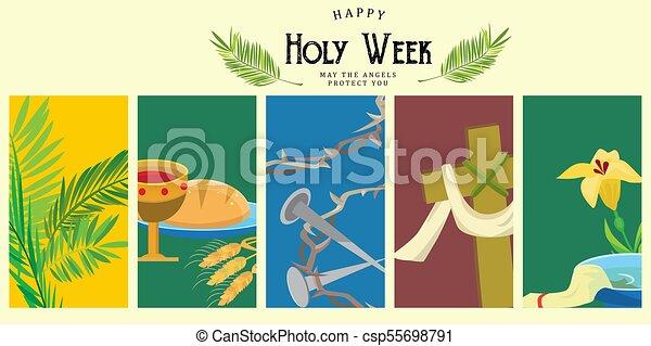 Preparada para la cristiandad semana santa antes de Pascua, prestada y palma o pasión el domingo, buena crucifixión de los viernes de Jesús y su muerte, estaciones de cruz, Dios la última cena corona de espinas ilustración vectorial - csp55698791