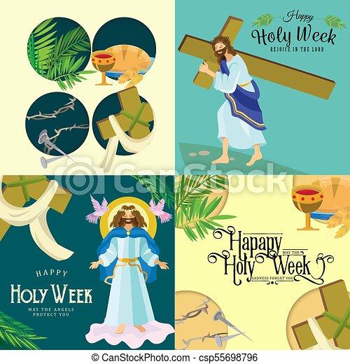Preparada para la cristiandad semana santa antes de Pascua, prestada y palma o pasión el domingo, buena crucifixión de los viernes de Jesús y su muerte, estaciones de cruz, Dios la última cena corona de espinas ilustración vectorial - csp55698796