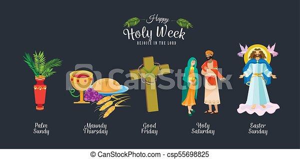 Preparada para la cristiandad semana santa antes de Pascua, prestada y palma o pasión el domingo, buena crucifixión de los viernes de Jesús y su muerte, estaciones de cruz, Dios la última cena corona de espinas ilustración vectorial - csp55698825