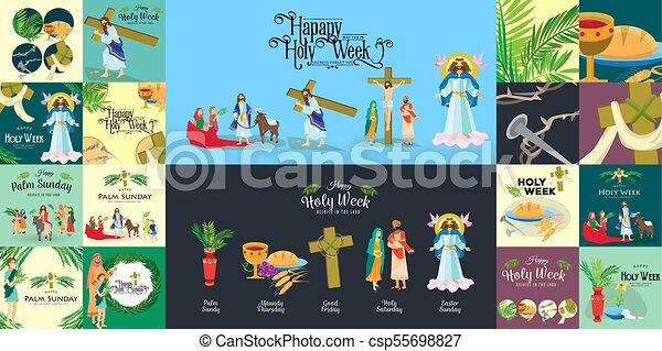 Preparada para la cristiandad semana santa antes de Pascua, prestada y palma o pasión el domingo, buena crucifixión de los viernes de Jesús y su muerte, estaciones de cruz, Dios la última cena corona de espinas ilustración vectorial - csp55698827