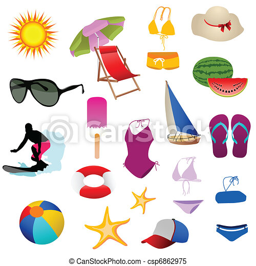 Juego de iconos de playa - csp6862975