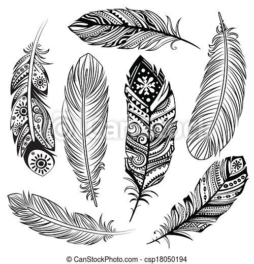 Un conjunto de plumas étnicas - csp18050194