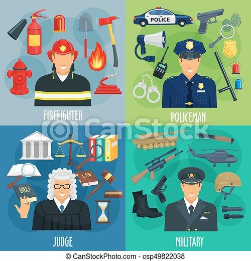 Policía, bombero, militar, juez de íconos - csp49822038