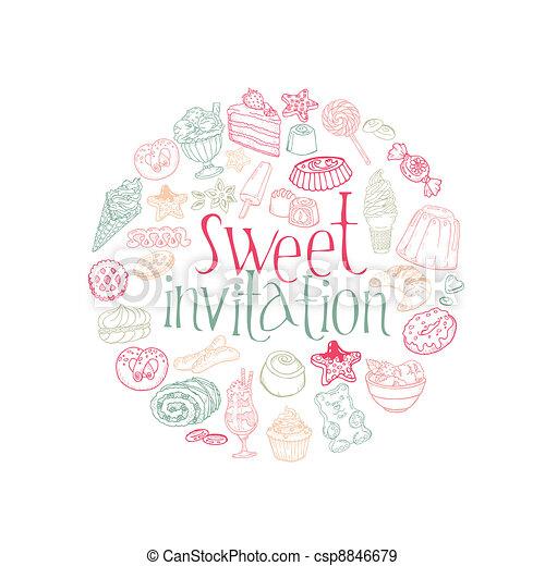 conjunto, postres, dulces, vector, pasteles, tarjeta, -invitation - csp8846679