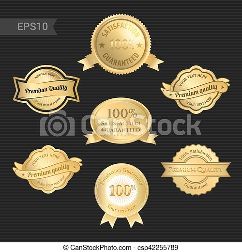 Garantizado de satisfacción y emblema de calidad premium o placa con cinta de premio en color dorado - csp42255789