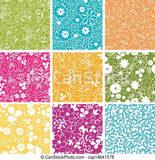 Un conjunto de nueve flores de primavera sin fondo - csp14641578