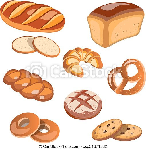 Un conjunto de productos de pan aislados - csp51671532