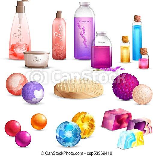 Conjunto productos belleza ba o empaquetado producto for Productos de bano