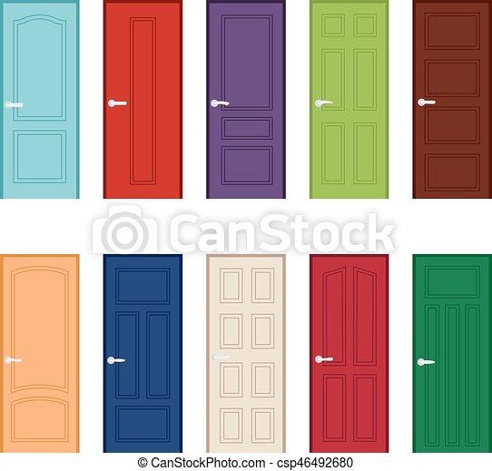 Conjunto puerta color iconos ilustraci n vector for Colores de puertas de madera