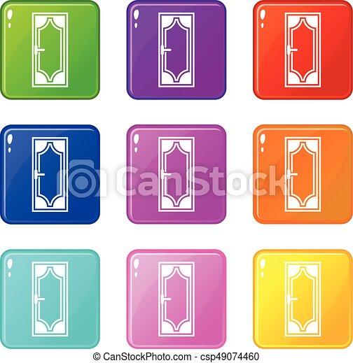 Puerta de madera con iconos de vidrio 9 - csp49074460