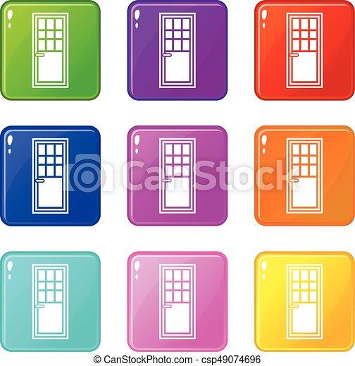 Puerta de madera con iconos de vidrio 9 - csp49074696