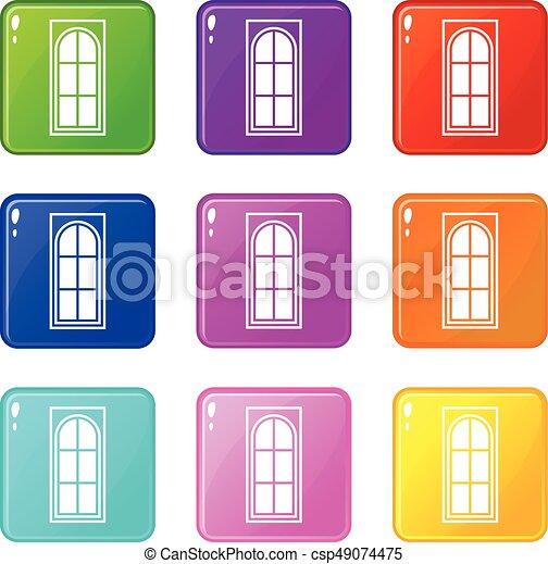Puerta de madera con iconos de vidrio 9 - csp49074475