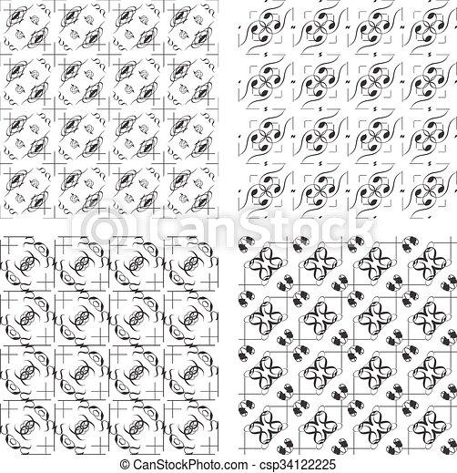 Conjunto, puntos, tendencia, polca, -, seamless, escandinavo, cruz ...
