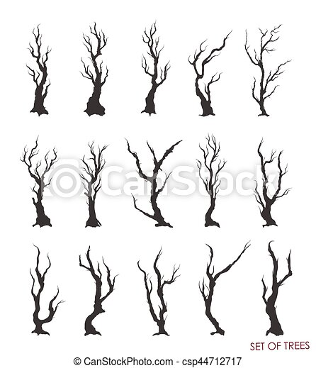 Vector, conjunto, ramas, árboles muertos clip art vectorial - Buscar ...