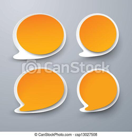 Papel conjunto de burbujas redondas de discurso naranja. - csp13027508