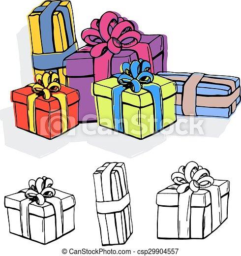 Un juego de cajas de regalos. - csp29904557
