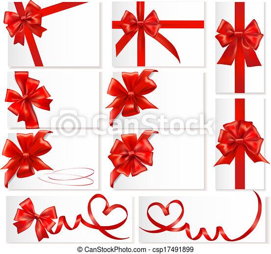 Un gran juego de arcos de regalo rojos con cintas. Vector. - csp17491899