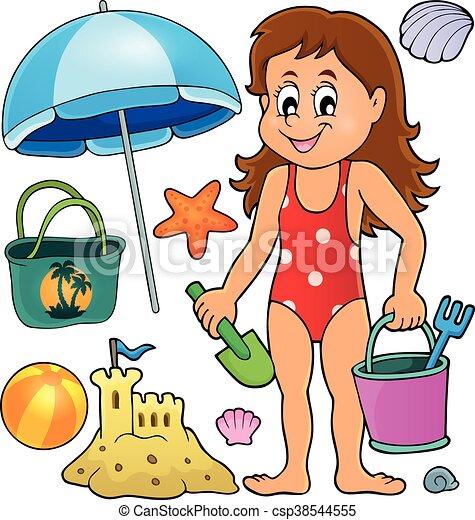 conjunto relacionado tema objetos niña playa vector conjunto